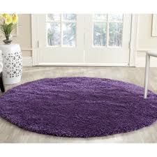 Round Shag Purple Area Rug