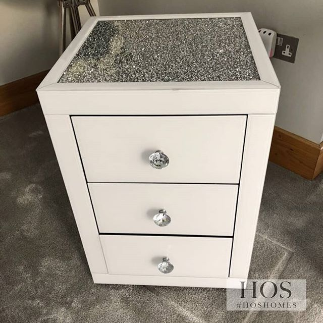 Beautiful White Mirror Crush Bedside Tablesthese Come Fully