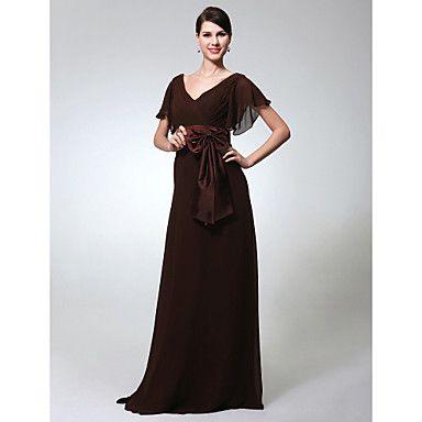 Sheath/Column V-neck Short Sleeve Floor-length Chiffon Evening Dress  – AUD $ 121.49