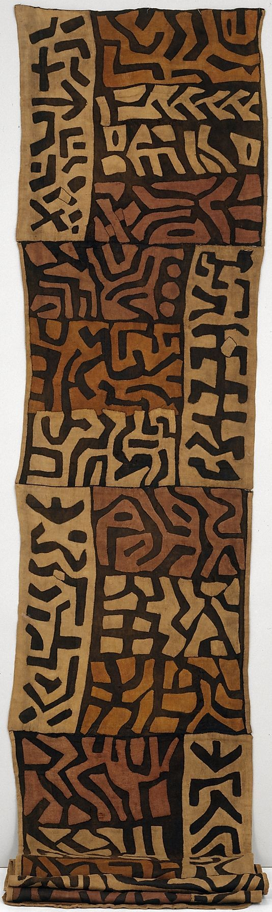 Africa | Ceremonial Skirt (Ntchak) from the Kuba people (Bushoong group) from the Kasai River Region of the DR Congo | Raffia palm fiber with natural dyes | ca. late 19th century: