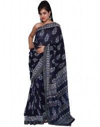 Pure chanderi silk hanmade block printed saree