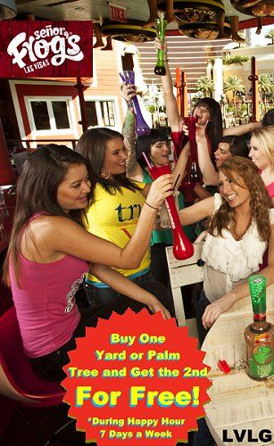 Coupon for buy one get one free yard or palm tree at Senor Frog's, in Treasure Island, Las Vegas.