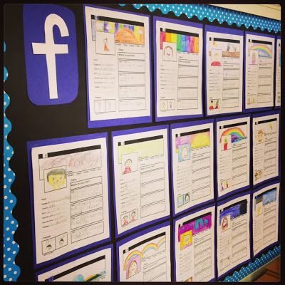 "Our first assignment was a ""Social Media Profile"" get to know you activity. The kids fill out information about themselves and write four ""status updates"" from the summer."