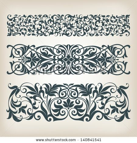 vector set vintage ornate border frame filigree with retro ornament pattern in antique baroque style arabic decorative calligraphy design by HiSunnySky, via Shutterstock
