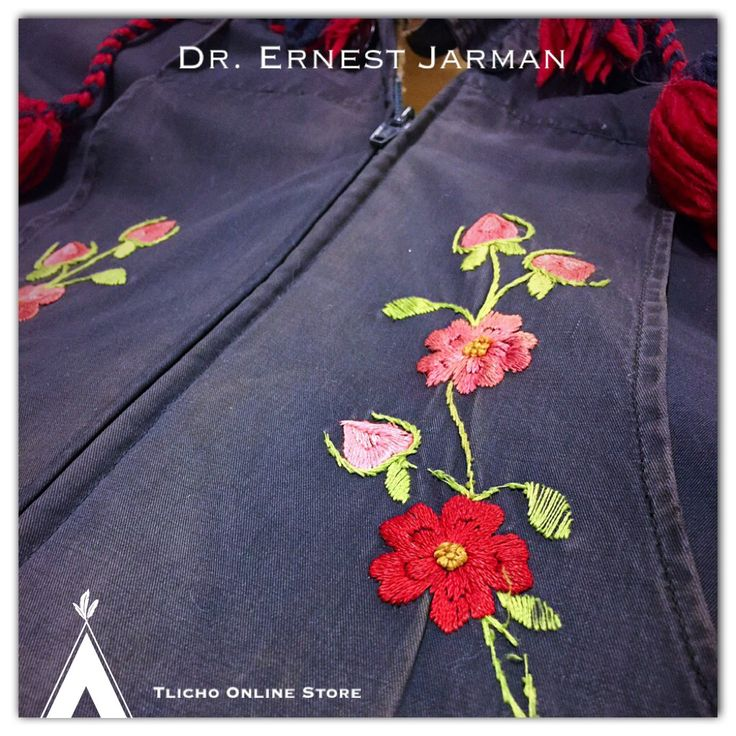 Went the Culture Centre to look at the Dr. Jarman collection and DVD. Beautiful photos!  Photo of a jacket with embroidery made by a #Tlicho woman for Dr. Jarnan's wife. Made in 1954-56, #Behchoko