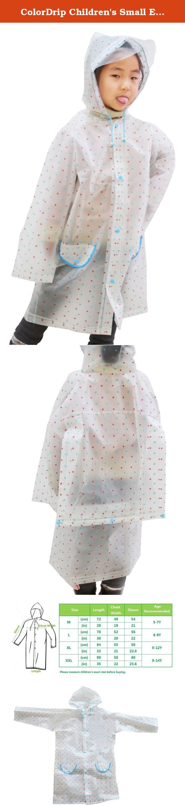 ColorDrip Children's Small Ear Pocket Dots Eco-friendly EVA Children Raincoat Large White. *Made of special EVA, all-around heartfelt protection for your lovely sweetie; Eco-friendly and soft materials without harmful substance---absolutely skin-friendly and healthy; Excellent waterproof and free breathability---prevention from wetting in the rain comfortably; Low temperature-resistant and anti-tearing---windproof and durable even in the chilly winter; Light and crease-resistant---easy…