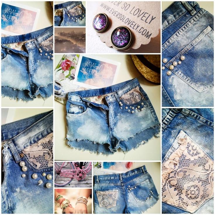 OMBRE SHORTS tęcza ćwieki PERŁY KORONKI jeans!!   pearls shorts