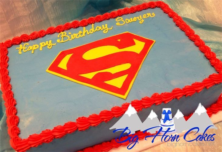 Clean And Simple Superman Logo Sheet Cake For Boys Kids
