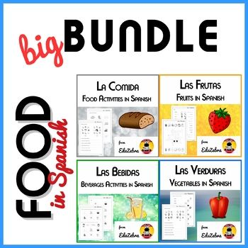 It is a set of four of my products listed originally as 'Las Frutas - Food: Fruits in Spanish - Activity Pack' , 'Las Verduras - Food: Vegetables in Spanish - Activity Pack', 'La Comida - Food in Spanish - Activity Pack' and 'Las Bebidas - Beverages in Spanish - Activity Pack'.