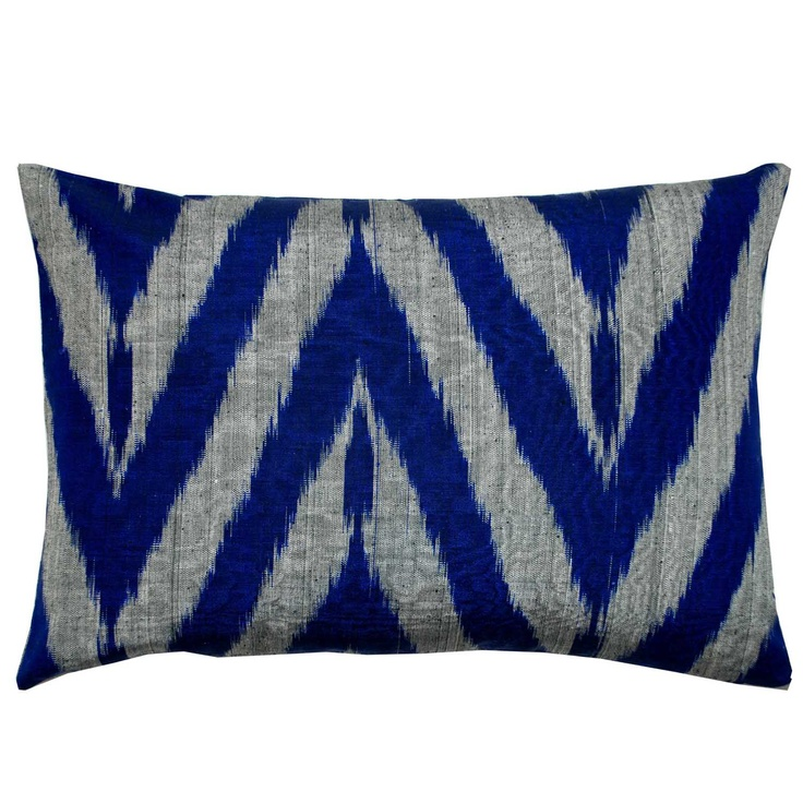Thai Silk Indigo Ikat Pillow
