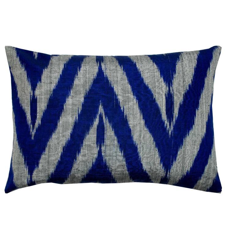 Thai Silk Indigo Ikat Pillow