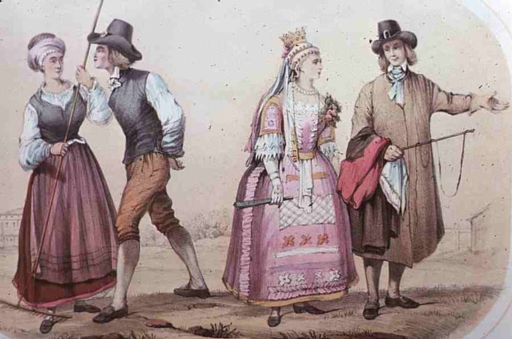 Peasants from Vingåker, Södermanland. Antique print.