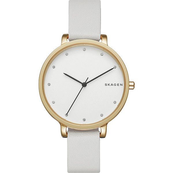 Skagen Hagen Leather Watch - White - Women's Watches ($155) ❤ liked on Polyvore featuring jewelry, watches, accessories, bracelets, white, skagen watches, skagen jewellery, water resistant watches, leather wrist watch and skagen wrist watch