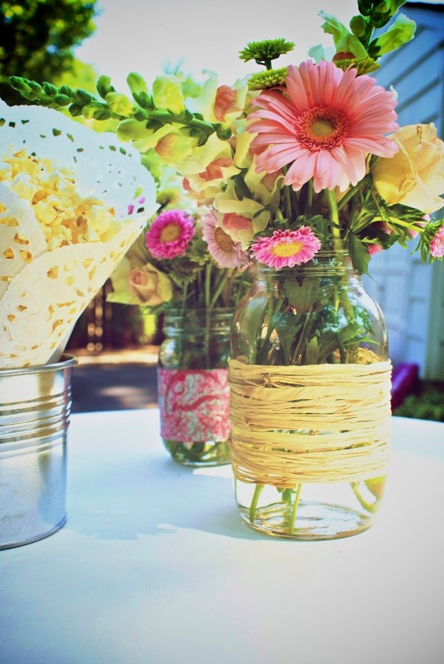 Mason Jars With Flowers Engagement Party Decorations
