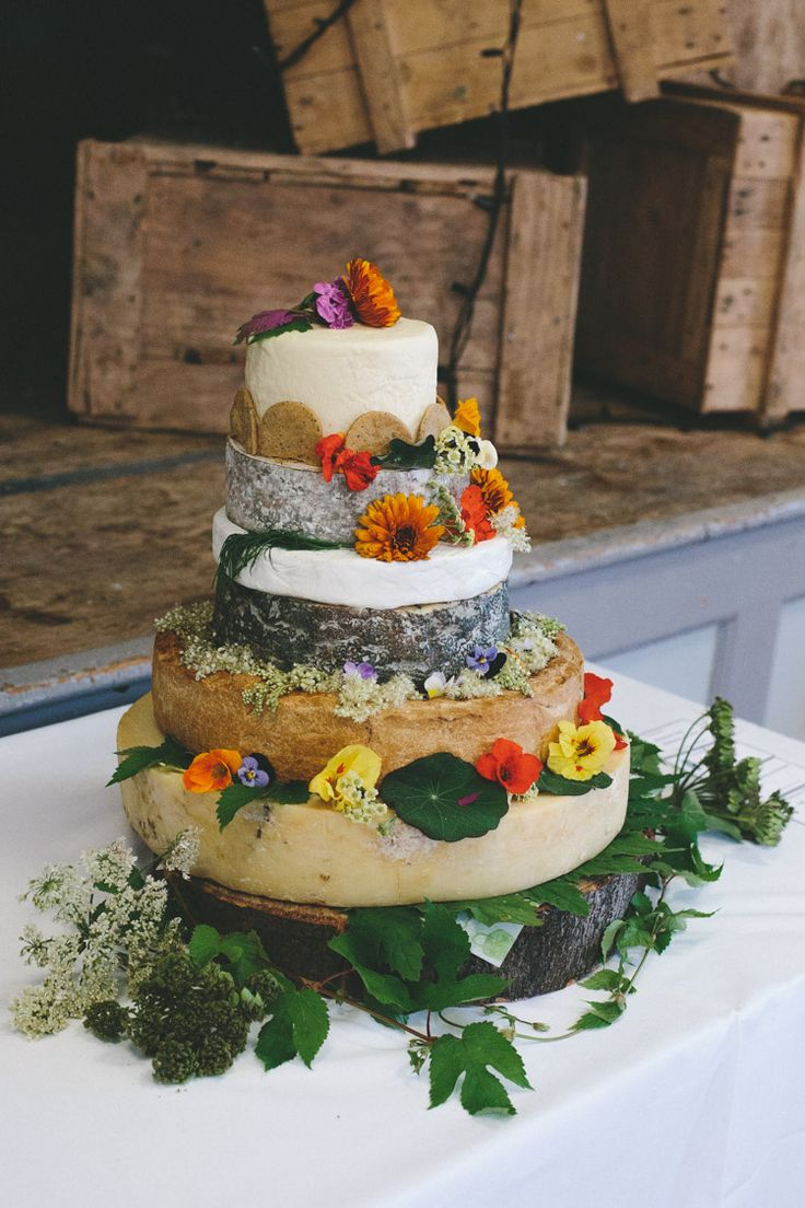 Cheese Tower Stack Cake Home Made Vintage Pale Blue Wedding