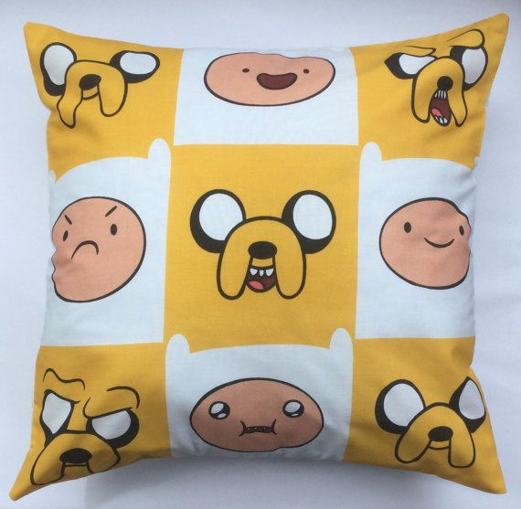 Adventure Time Finn & Jake Fabric Cushion  by AlienCoutureUK