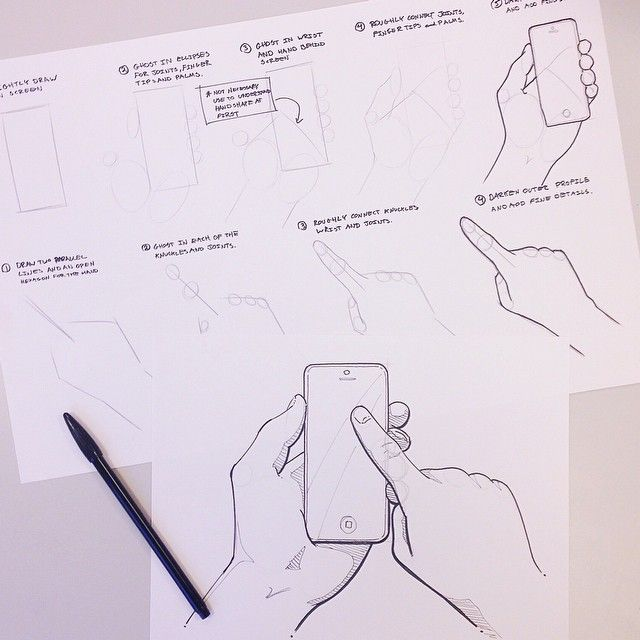 Including hands in sketches is a great tool to identify scale and explain product interactions. In this #SketchTutorialTuesday I focused on hands and smartphones. Follow the link in my profile to find this and other sketching tutorials later this week! @rqbertq @pg_design @jackofarrell @cidrobo #ID #IDsketching #industrialdesign #productdesign #design #sketch #sketching #tutorial #drawing #instaart