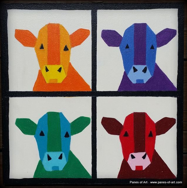 """Cows"" 8""x8"" Mini Barn Quilt View details at: www.panes-of-art.com"