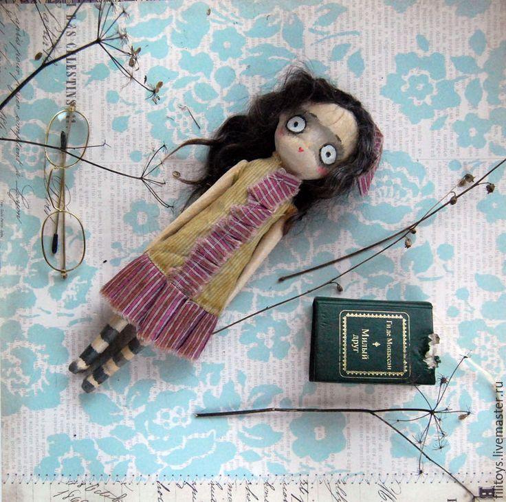 Купить Цветок ноября - серый, фиолетовый, желтый, голубой, винтаж, чердачная кукла, авторская работа