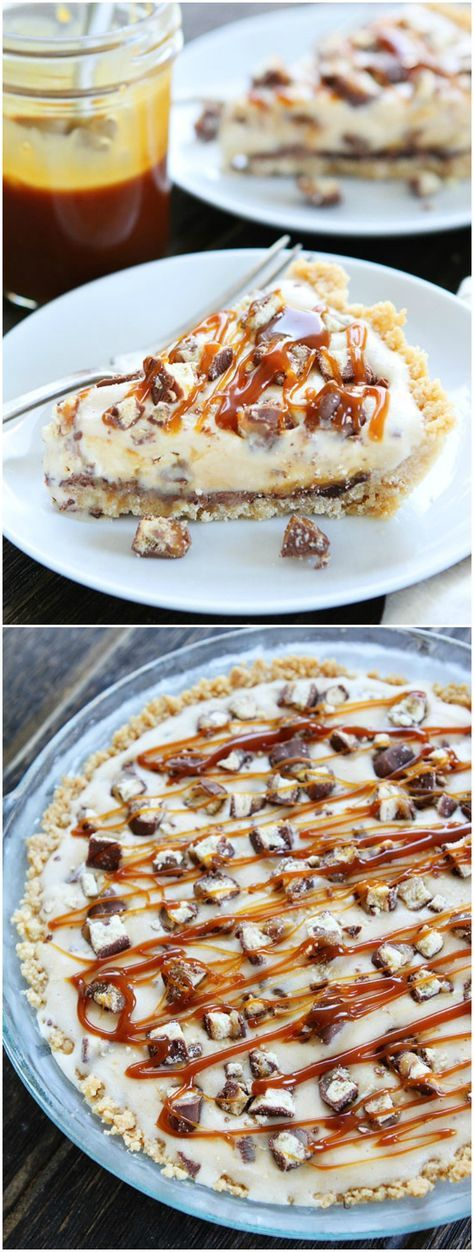 Twix Ice Cream Pie Recipe on twopeasandtheirpod.com This pie has a shortbread cookie crust, layer of chocolate, vanilla ice cream, Twix candy bars, and salted caramel! It is an amazing dessert!