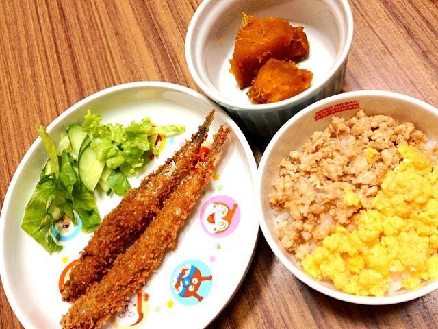 3歳息子の夕ご飯☻ - 11件のもぐもぐ - *ししゃもフライ*グリーンサラダ*かぼちゃの煮付け*二色ご飯 by RYKmom