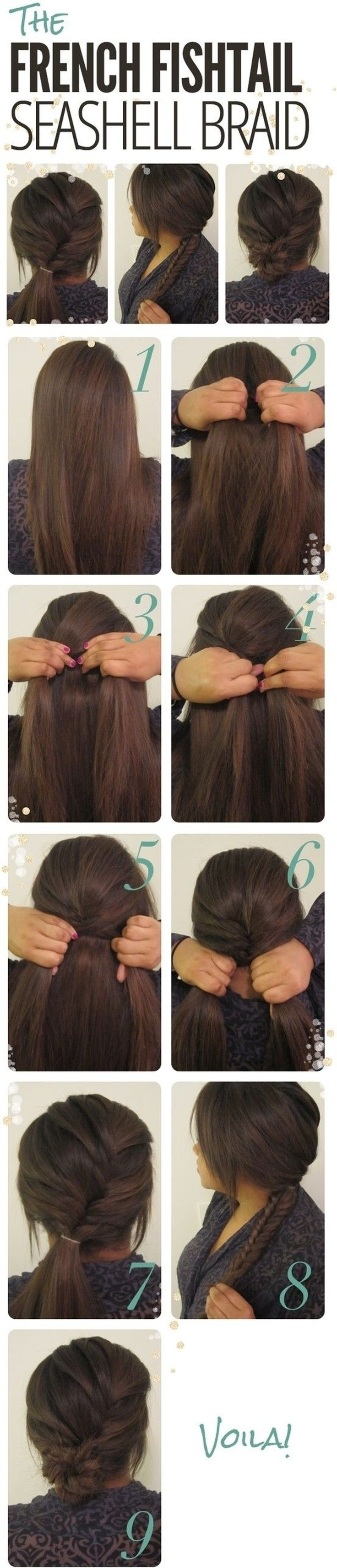 16. #French Fishtail #Seashell Braid - 43 #Fancy Braided #Hairstyle Ideas from #Pinterest ... → Hair #Cover