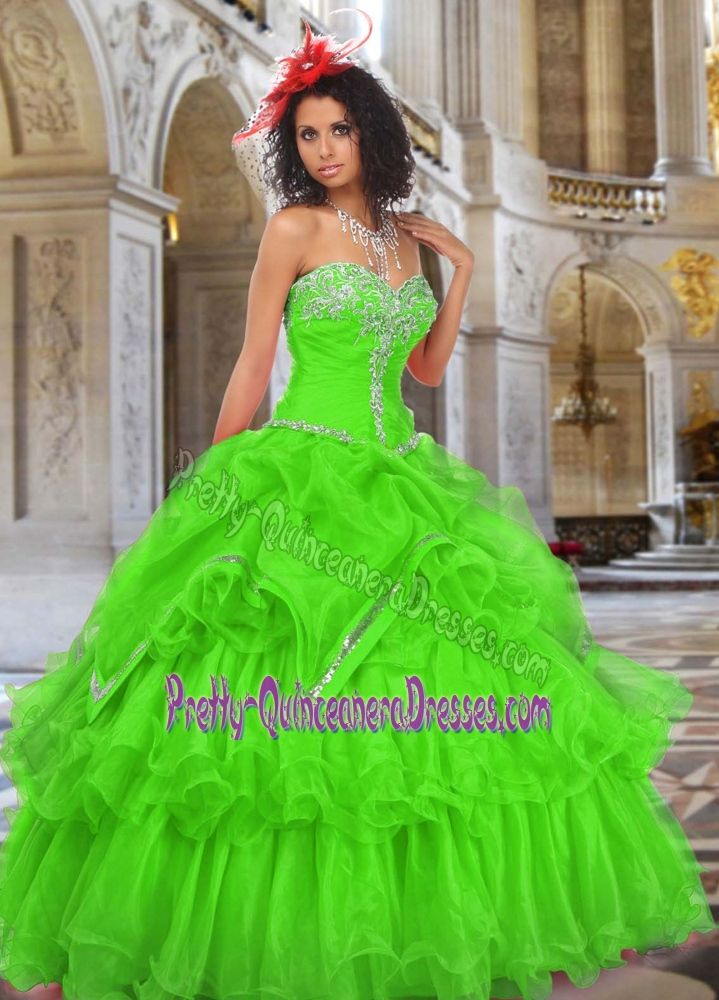 Strapless Ruched Dress for Quince with Beading and Ruffle Layers in Spring Green