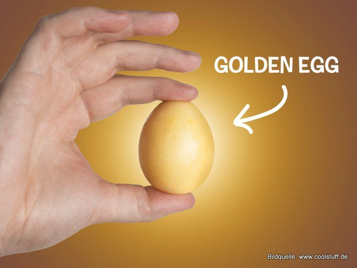 Eierschleuder für goldene Frühstückseier