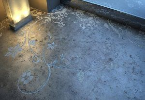 Acid etched floor White on dark
