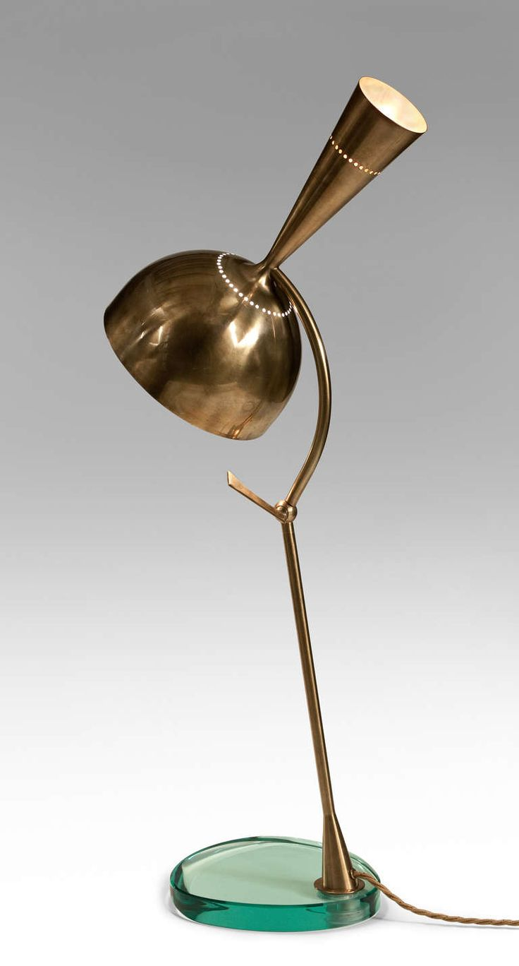 roberto rida a large pair of adjustable brass and vintage glass doppio conetto lamps - Modern Table Lamp