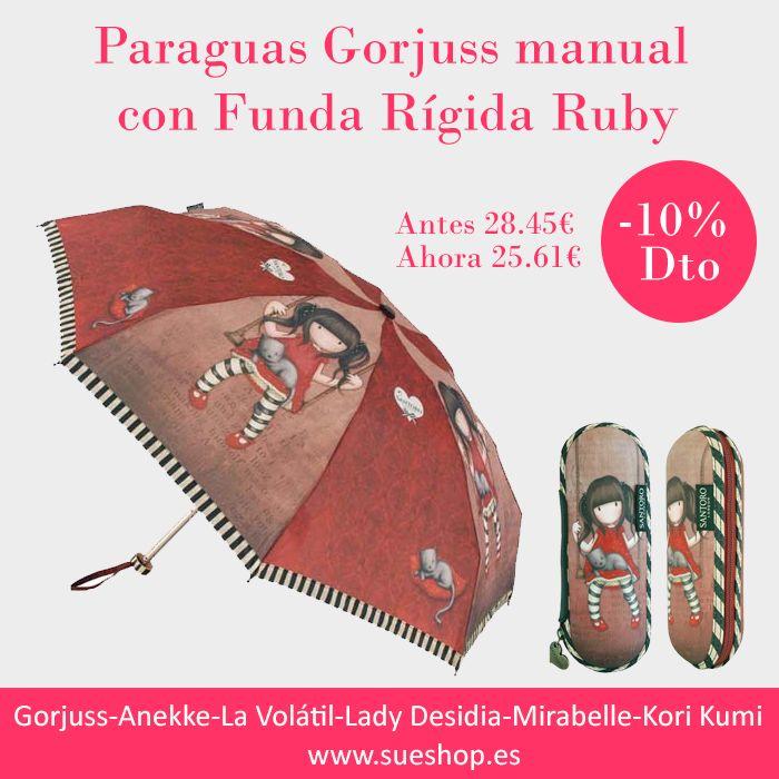 """Consigue aquí el precioso Paraguas Gorjuss Manual con funda rígida de nuestra adorable """"Ruby"""".  ¡¡Ahora por tan solo 25,61€!!  @sueshop_es #gorjuss #santorolondon #paraguas #diasdelluvia #oferta #rebajas"""
