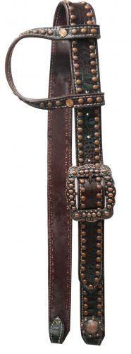 Showman ® One Ear Belt Style Leather Dark Muliti Colored Alligator Print Bridle