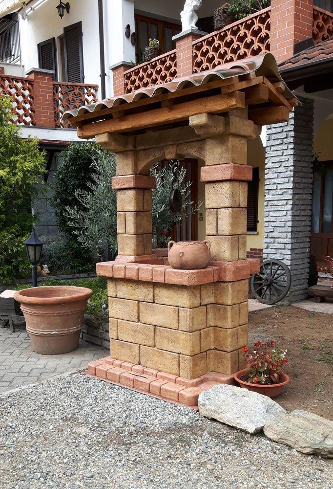 Pozzo decorativo da giardino mod. Country, finitura old