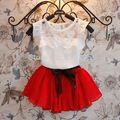 Los Bebés del Verano caliente Ropa Niños Establece Gasa Floral T-shirt + Bow Faldas Set Party Tutu Dress 2-6Y Ropa Freeshipping