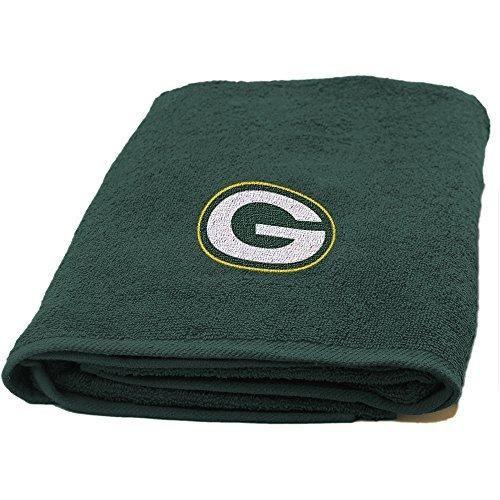 NFL Packers Bath Towel 25 X 50 Football Themed Applique Shower Towel Sports Patterned Team Logo Fan Merchandise Athletic Spirit Gold Dark Green Polyester