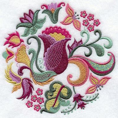Jacobean Floral Circle - Machine Embroidery Designs at Embroidery Library!