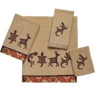 Segovia Linens  A typical image of the southwest is the kokopelli.  This set features kokopelli, turtle, deer, and lizards This bath set would be great in any adobe home, or lodge out west.  Pieces sold individually.  Machine wash warm.  Do NOT bleach