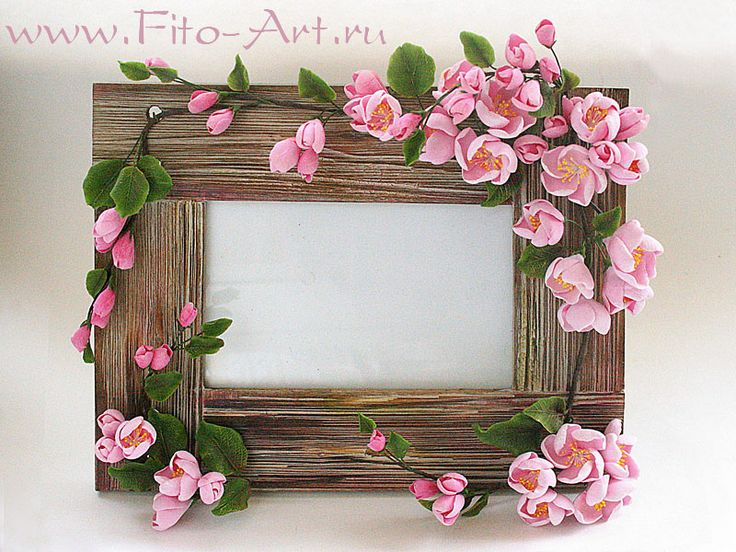 декор интерьера, decoclay, холодный фарфор, цветы яблони, цвет розовый, фоторамка, подарок коллеге, подарок девушке, цветы ручной работы, искусственные цветы, керамическая флористика