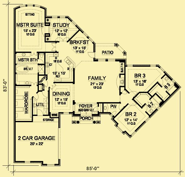 Architectural House Plans : Floor Plan Details : French Country Elegance