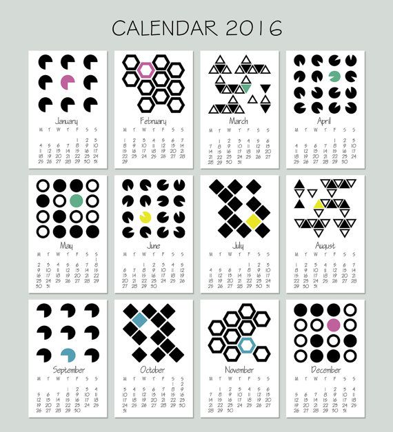 Mini Calendar 2016 - Calendar Printable - Desktop Calendar - Monthly Calendar Download - Hanging Calendar - Desktop Organization  This listing is