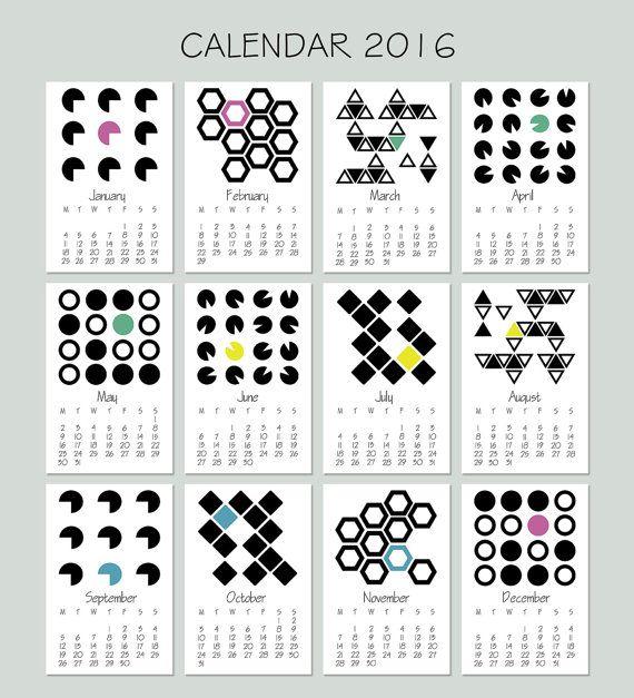 Mini Calendar 2016 - Calendar Printable - Desktop Calendar - Monthly Calendar Download - Hanging Calendar - Desktop Organization  This listing is