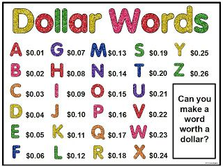 This is usually my homework for the first day of school - how much is your name worth. but what a great idea to leave this up all year and have kids find words with exact amounts...or that fits between a range (comparing) or is three times greater than (multiplication) Great for Early Finishers!!