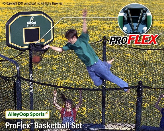 My Boys would LOVE this! JumpSport AlleyOOP ProFlex Trampoline Basketball Set   Two of a kind, working on a full house
