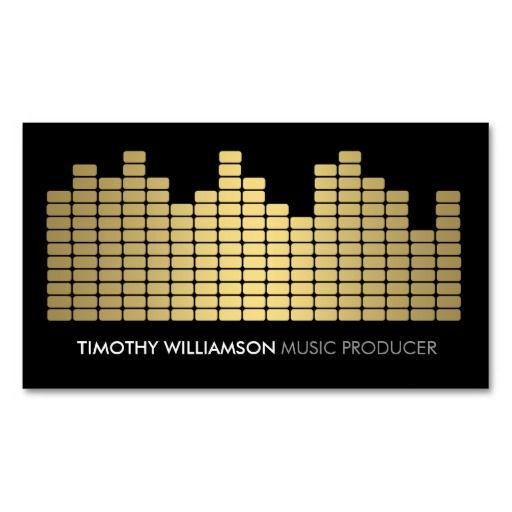 Gold Equalizer Musician, DJ, Band Business Card Template - full-color front and back printing. Easy to personalize and order.