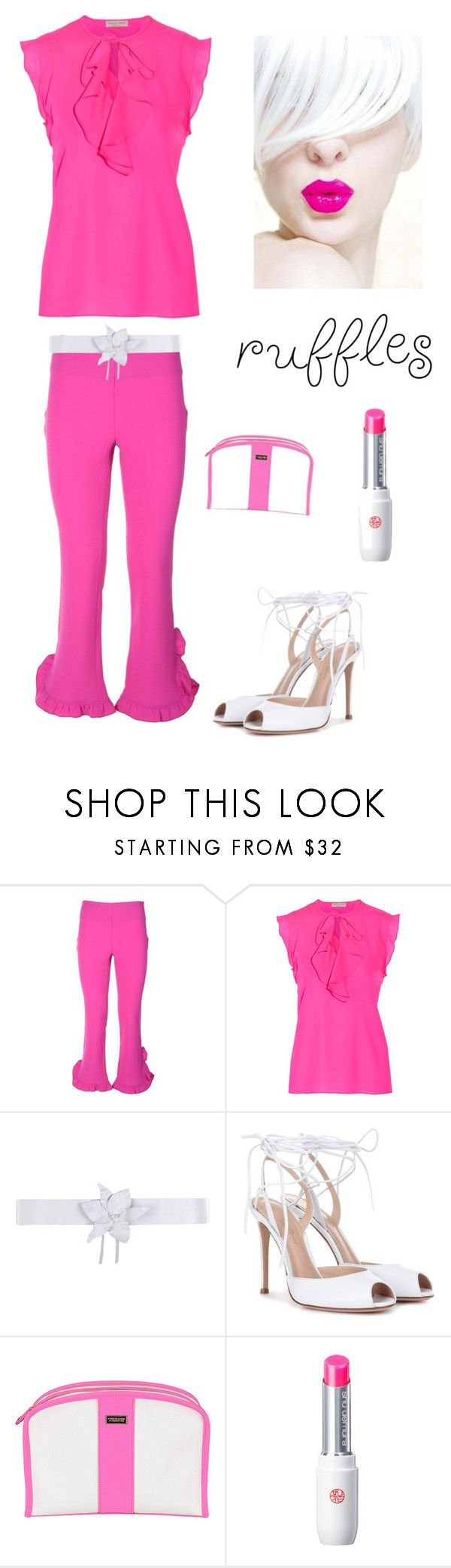 """""""Spring In Ruffles"""" by kotnourka ❤ liked on Polyvore featuring L'Autre Chose, Emilio Pucci, Space Style Concept, Gianvito Rossi, Stephanie Johnson and shu uemura"""