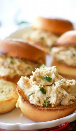 Jalapeno Popper Chicken Sliders. #recipe #appetizer