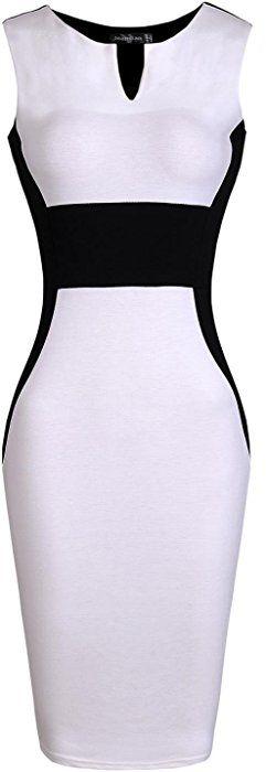 jeansian Women's Sleeveless V-Neck Knee-length Pencil Dress WKD196 White XXS