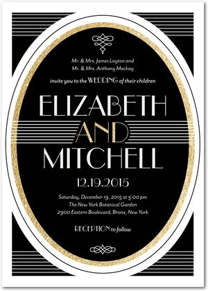 1920s glamour shines through the Vintage Elegance collection, with black, silver, and gold combined for an elegant invitation.