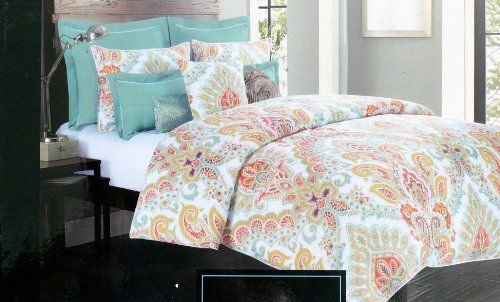 Cynthia Rowley 3 Pc King Duvet Cover Set Orange Yellow