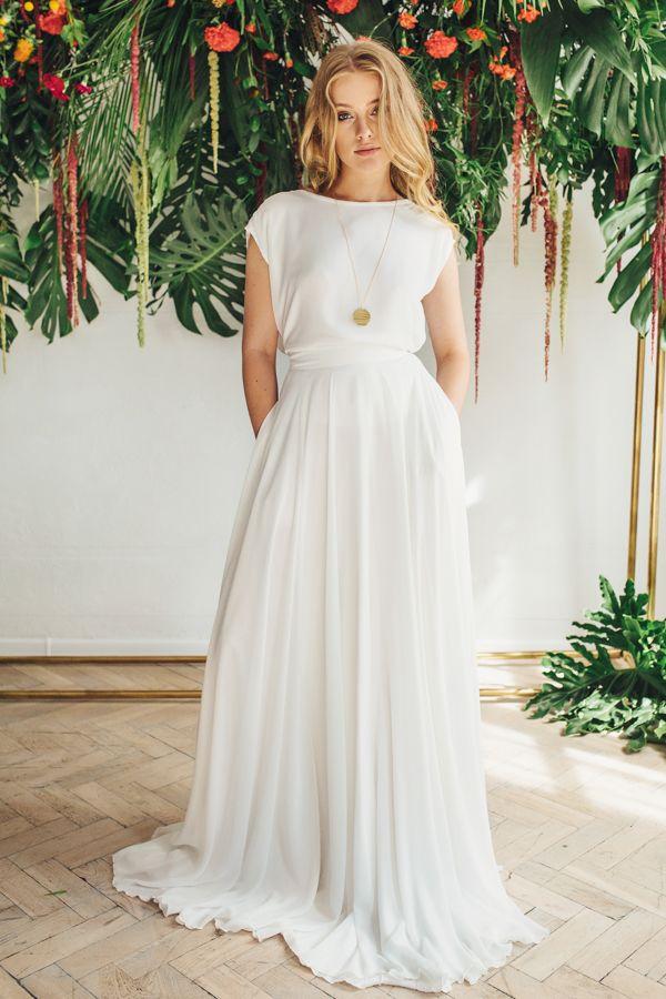 77f6ea6fd2 Alternatywne suknie ślubne. RIVA - komplet ślubny  spódnica w kształcie koła  i kieszeniami i